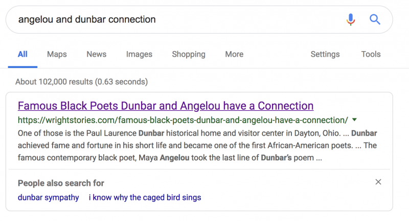 Why does the knowledge graph of two of the most famous Black poets get it's information from a website about the Wright Brothers?