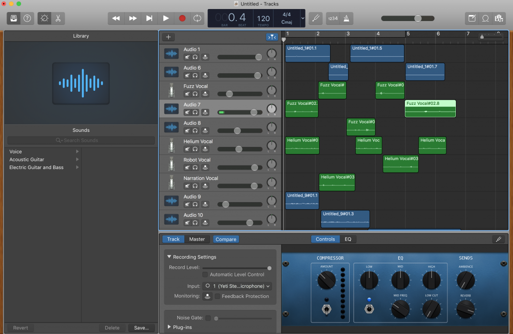 screen shot of garage band with 9 voice tracks