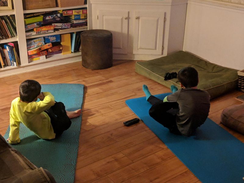 Kids going crazy before dinner: Yoga Time
