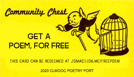 Need a free poem? Request one all month long from the #clmooc #poetryport or gift one to a friend. Check out: https://clmooc.com/come-sail-into-the-poetry-port/ #nctevillage #literacies