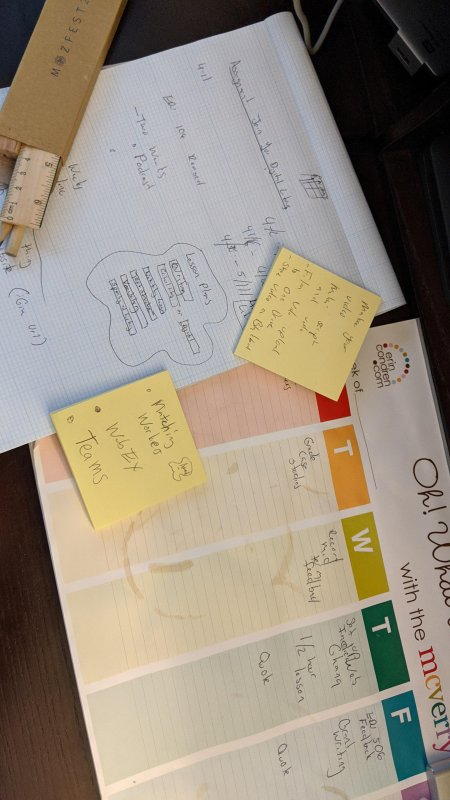 Hey @scsu students returning online. Wanted to show you my impt tools for online learning: paper, pencils, ruler, sticky notes, coffee stained calendar.